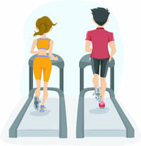 Couple on Treadmill - Illustration