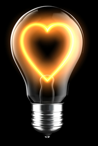 Lightbulb with heart