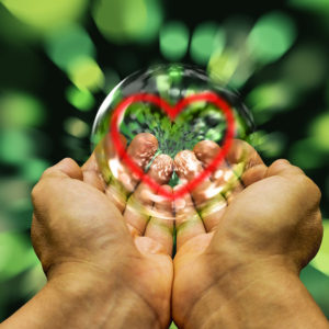 Cupped hands holding a heart in a bubble