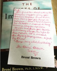 Brené Brown letter to Jo Yaldren