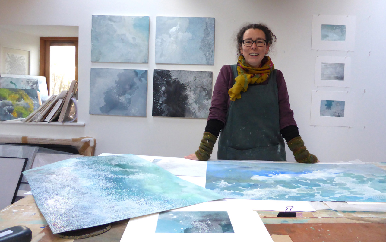 Sam Clark in her studio